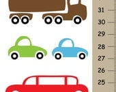 Boys Personalized Cars Growth Chart canvas wall hanging