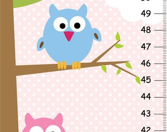 Personalized Canvas Girls Growth Charts Owls on tree - Pink