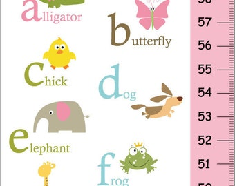 Alphabet Animals Personalized Children Growth Chart pink and green