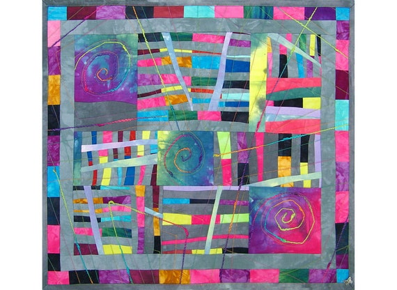 Fiber Art, Quilted Wall Hanging, Dyed Fabrics