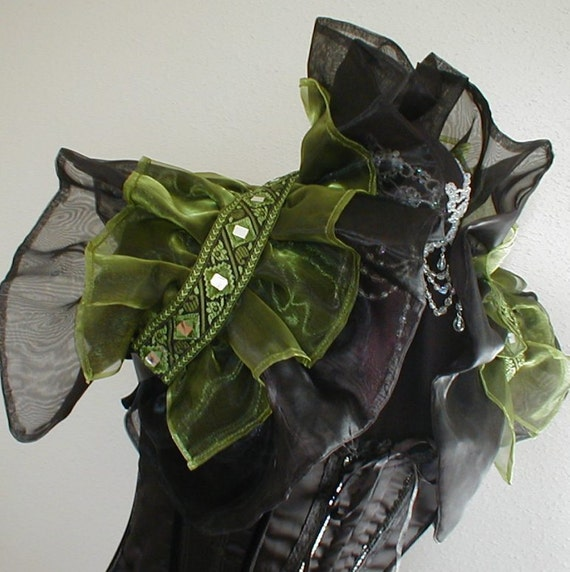 Shrug Collar Gothic Burlesque Steampunk Vamp Victorian Black Green U.S.  SZ 10     uk size 12