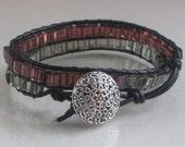 Chan Luu Inspired  Bracelet  Diamond Suit Gray and Purple Glass Beads