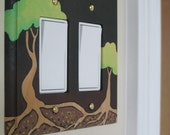 Earth Tone Tree and Roots Design Hand Painted Wood Double Rocker Switch Plate