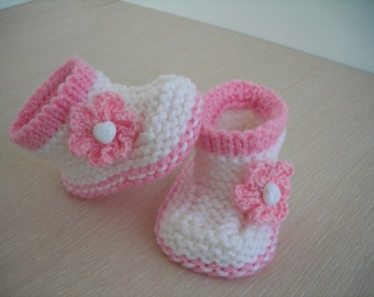 baby girl hand knitted booties