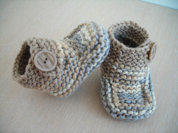 baby boy hand knitted booties photo props