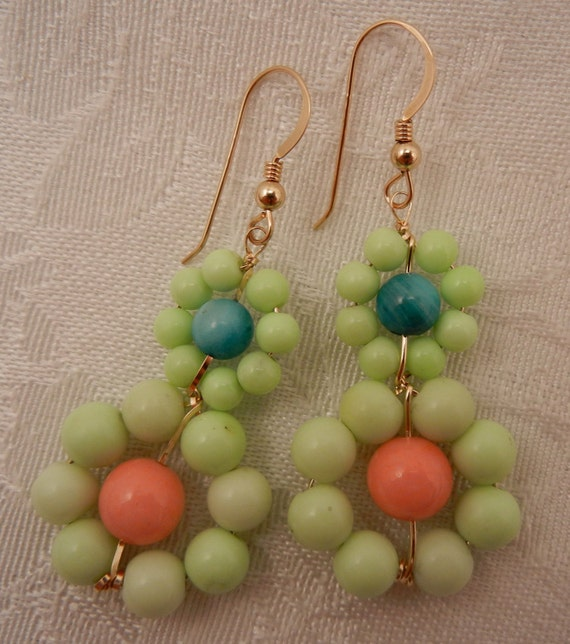 Beaded Statement Earrings in Lime