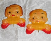 Pair of Vintage Chalkware Plaques -- Children with Corn By Miller Studios, 1955