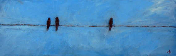 BIRDS on a Wire Painting ORIGINAL Blue Painting Blackbirds, Ready to Hang 30x10, Whimsical ART by Abbie Blackwell