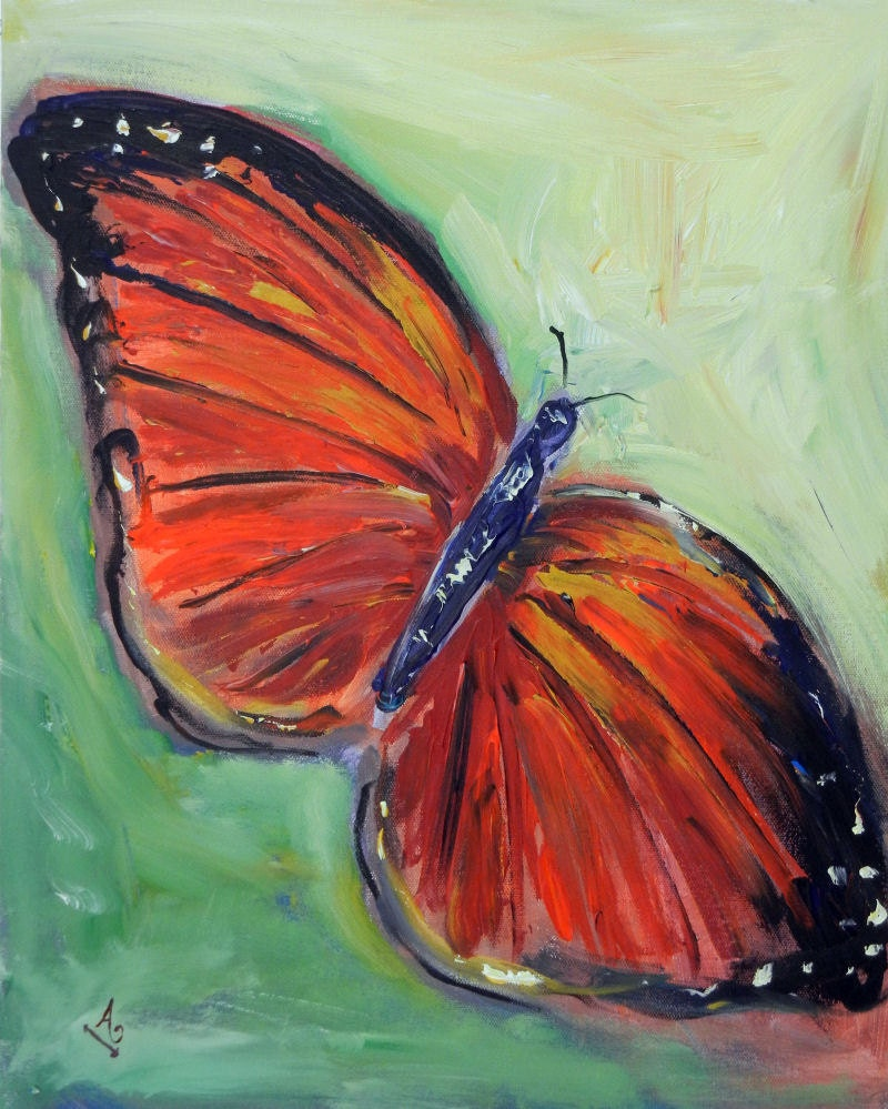 Abstract Butterfly Painting ORIGINAL Colorful Oil Painting