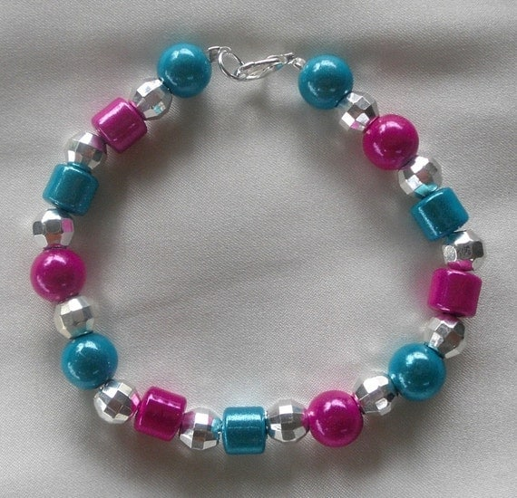 Dog Pet Necklace Collar Jewelry- Pink/Aqua- Size XS