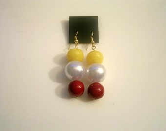 Red white and yellow beaded earrings