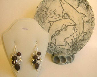 Chandelier earrings matted brown and clear crystal beads