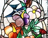 Stained Glass Panel - Hummingbirds & Hibiscus