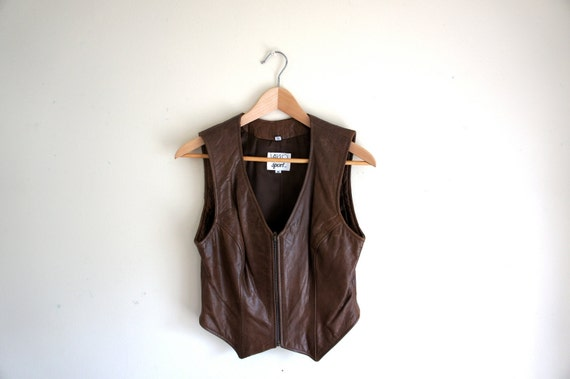 vintage brown leather vest // womens cropped zipper vest // size small