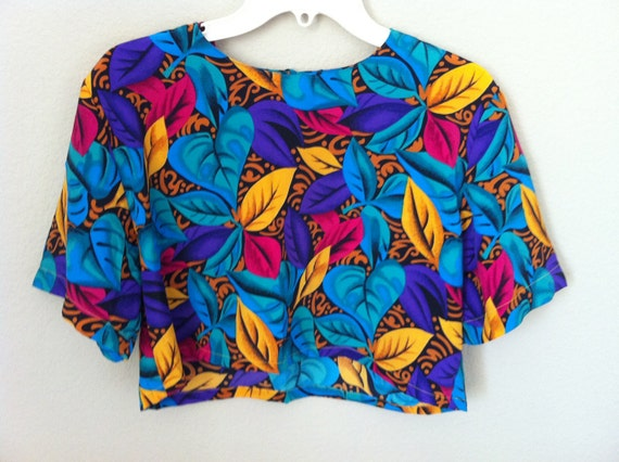 Vintage Colorful Floral Crop Top
