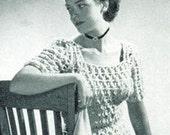 Vintage Crochet Pattern Short Sleeved Sweater Blouse PDF