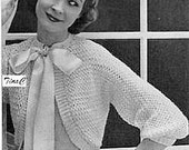 Vintage Crochet Pattern Woman's Bow Tie Shrug PDF