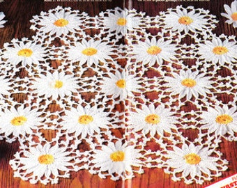 Vintage Crochet Pattern Daisy Flower Doily Table Scarf PDF Instant