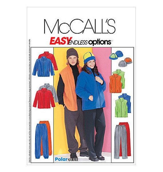 McCalls discontinued sewing pattern 3402 Polar Gear Unisex Sz Xlg,Xxl