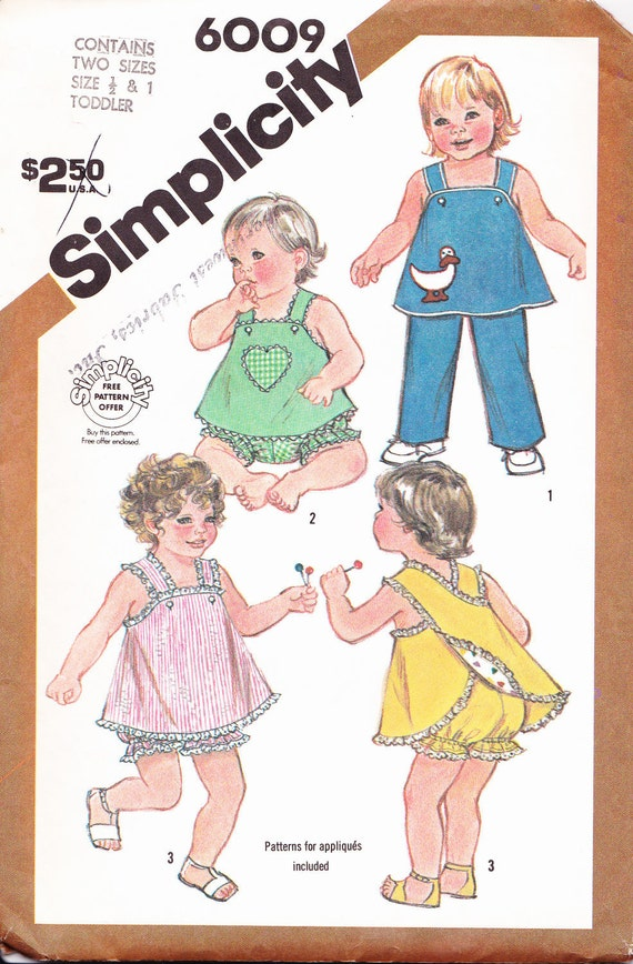 Vintage Simplicity Sewing Pattern Sundress and Pants Sizes 6-12m Uncut