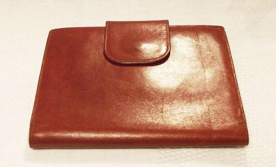 Vintage Brown Genuine Leather Snap Wallet