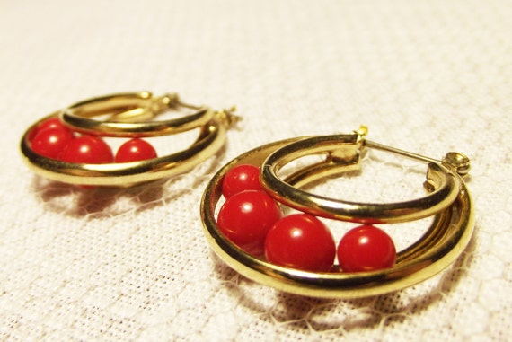 Vintage Gold and Red Hoop Earrings