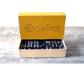 Vintage Domino game toy Mid Century Modern West German 60s yellow typography wood black white