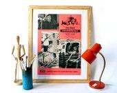 SALE Vintage James Bond movie poster Thunderball print pink neon fathers day boyfriend men gift