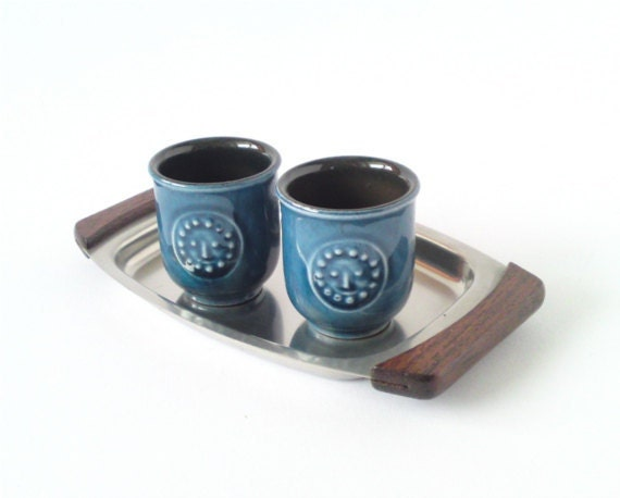 SALE Vintage egg cups shooters shot glasses pottery blue West German Made in Germany 1970s Modern Mid-Century mother's day gift