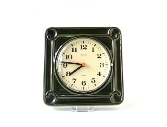 reserved vintage wall clock west german pottery ceramic