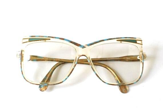 Vintage Cazal glasses 80s womens spectacles turquoise gold oversized statement frame eyewear