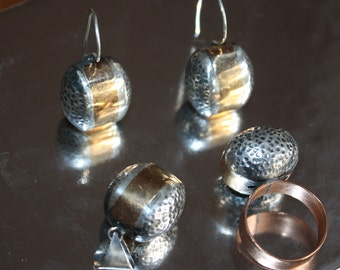 "SET Earrings, Pendant, Ring, Sterling Silver 925 ""Bubbles"" with brass, one of a kind, handmade, hand hammered, contemporary design."