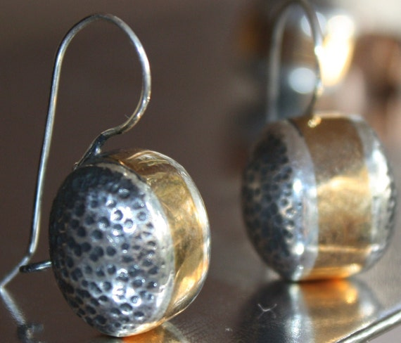 """EARRINGS Sterling Silver 925 earrings """" Bubbles"""", hand made, one of a kind, gold plated, drops"""