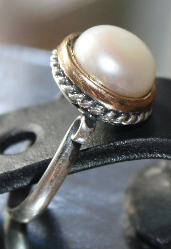 """RING Hand made oxidized Sterling silver 925 and white pearl ring, line """" Inci""""."""