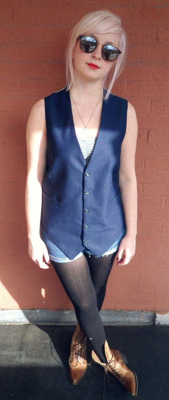 SALE 1960's PAISLEY and FLORAL Tailored Vest // Navy Blue Button up Vest