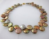 """Copper-Colored Coin Pearl Necklace with Vermeil Gold Clasp 16"""""""
