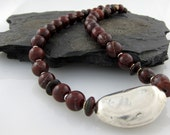 """Jasper Necklace with Fine Silver Pebble Bead and Sterling Silver  18"""""""