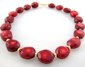 Apple Coral Necklace with Vermeil Gold Accents   22""
