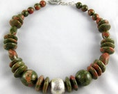 """Unakite Necklace with Fine Silver Bead and Sterling Silver Clasp   18"""""""