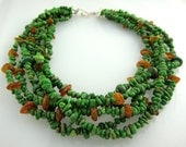 """Green Turquoise Necklace with Amber Accents and Sterling Silver Clasp  Six strands 17"""" adjustable to 19"""""""
