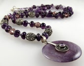 """Amethyst and Bali Silver Necklace with Vintage Purple Glass Beads and an Amethyst and Bali Silver Pendant Disc   28"""""""