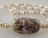 """Pink and White Pearl Necklace with Patterned Glass Bead, Crystal, and Vermeil Gold   18"""""""