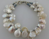 """Two-Strand Pearl Coin Bracelet with Peacock Pearls and a Sterling Silver Clasp    7 1/2"""""""