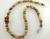 """Carnelian, Turquoise, and African Trade Bead Necklace with Wooden Ojime Frog, Picture Jasper, Carved Bone, and Sterling Silver Clasp   22"""""""
