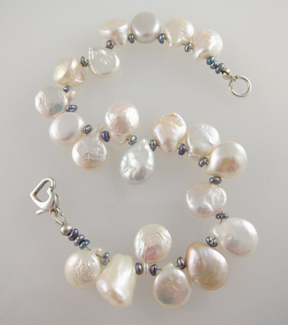 """Pearl Coin Bracelet with Peacock Pearls and Sterling Silver Clasp    8"""""""