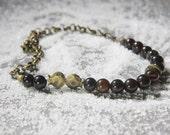 Eggplant Purple Black Quartz  Chalcedony Stones Beads With Pomegranate Brass Beads And Brass Chain Handmade Necklace