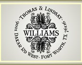 Ornate Round Family Address Stamp - Self Inking Preinking Personalized Stamp