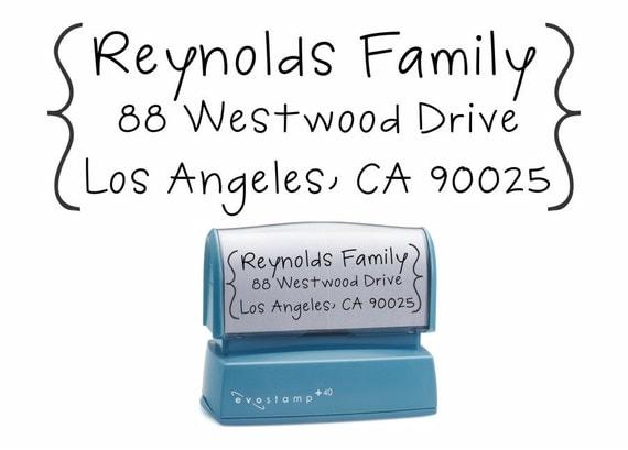 Bracketed Handwritten Self Inking Return Address Stamp - Personalized Envelope Stationary Stamp