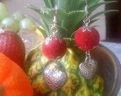 Red Heart Earrings-Silver Plated Earring-Christmas Gift