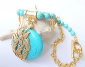 Reserved Turquoise Gold Necklace